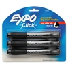 EXPO Click Dry Erase Markers, Chisel Tip, Black, 3/Pack
