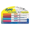EXPO Low-Odor Dry-Erase Marker, Ultra Fine Point, Assorted, 4/Set