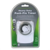 Heavy Duty Push-Pin Timer, 2 Outlets, 15 Amps, White