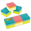 Mini Cubes, 2 x 2, Canary Yellow/Green Wave, 400-Sheet, 3/Pack