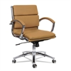 Alera Alera Neratoli Low-Back Slim Profile Chair, Camel Soft Leather, Chrome Frame