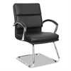 Neratoli Series Slim Profile Guest Chair, Black Soft Leather, Chrome Frame