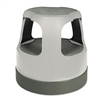 "Cramer Scooter Stool, Round, 15"", Step & Lock Wheels, to 300lb, Gray"