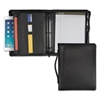 "Samsill Leather Multi-Ring Zippered Portfolio, Two-Part, 1"" Cap, 11 x 13-1/2, Black"