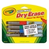 Crayola Dry Erase Marker, Chisel Tip, Broad,  Assorted Colors, 4/Set