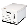 Universal Lift-Off Lid File Storage Box, Letter, Fiberboard, White, 12/Carton