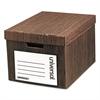 Universal Heavy-Duty Storage Box, Letter/Legal, Fiberboard, Woodgrain, 12/Carton