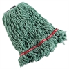 Rubbermaid Commercial Swinger Loop Shrinkless Mop Heads, Cotton/Synthetic, Green, Medium, 6/Carton
