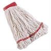 Rubbermaid Commercial Swinger Loop Shrinkless Mop Heads, Cotton/Synthetic, White, Large, 6/CT