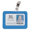 Rubberized Badge Holder, 2 1/2 x 3 3/4, Horizontal/Vertical, Blue, 5/PK