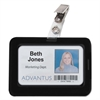 Advantus Rubberized Badge Holder, 2 1/2 x 3 3/4, Horizontal/Vertical, Black, 5/PK