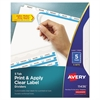 Avery Print & Apply Clear Label Dividers w/White Tabs, 5-Tab, Letter, 5 Sets