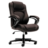 basyx VL402 Series Executive High-Back Chair, Brown Vinyl