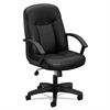 basyx VL601 Series Leather High-Back Swivel/Tilt Chair, Metal, 26 x 33 1/2 x 43, Black
