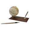 "Ivory Globe Holder with Pen Stand, 3 7/8"" Diameter, Walnut Base/Gold Accents"