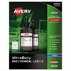 Avery Easy Peel UltraDuty GHS Chemical Labels, Inkjet, 2 x 2 , 600/Pack