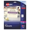 Avery Postcards for Inkjet/Laser Printers, 4 1/4 x 5 1/2, Ivory, 4/Sheet, 100/Box