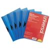 Plastic Report Cover w/Clip, Letter, Holds 30 Pages, Clear/Blue, 5/PK
