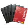 Plastic Report Cover w/Clip, Letter, Holds 30 Pages, Clear/Black, 5/PK