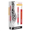 Zebra Sarasa Retractable Gel Pen, Red Ink, Medium, Dozen