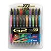 Pilot G2 Premium Retractable Gel Ink Pen, Assorted Ink, .7mm, 20/Set