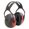 PELTOR X3A Over-the-Head Earmuffs, 28 dB NRR, Black/Red, 10/Ctn
