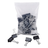 "Large Binder Clips, Zip-Seal Bag, 1"" Capacity, 2"" Wide, Black, 36/Bag"