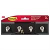 Command Decorative Key Rail, 8w x 1 1/2d x 2 1/8h, Black/Silver, 4 Hooks/Pack