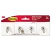 Decorative Key Rail, 8w x 1 1/2d x 2 1/8h White/Silver, 4 Hooks/Pack