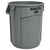 Round Brute Container, Plastic, 20 gal, Gray