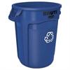 Round Brute Container, Plastic, 32 gal, Blue