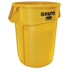 Rubbermaid Commercial Brute Vented Trash Receptacle, Round, 44 gal, Yellow