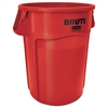 Rubbermaid Commercial Brute Vented Trash Receptacle, Round, 44 gal, Red