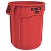 Rubbermaid Commercial Round Brute Container, Plastic, 10 gal, Red, 6/Carton