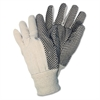 Memphis Dotted Canvas Gloves, One Size, White, 12 Pairs