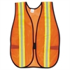 MCR Safety Orange Safety Vest, 2 in. Reflective Strips, Polyester, Side Straps, One Size