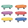 s Plastic Scooter Set with Nylon Swivel Casters, 12 x 12, Assorted Colors, 6/Set