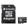 Verbatim microSDHC Card w/Adapter, Class 4, 8GB