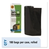 Recycled Plastic Trash Bags, 33 gal, 1.3 mil, 33 x 40, Brown/Black, 180/Carton