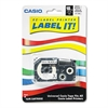 Casio Label Printer Iron-On Transfer Tape, 18mm, Black on White
