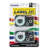 Tape Cassettes for KL Label Makers, 12mm x 26ft, Black on White, 2/Pack