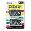 Casio Tape Cassettes for KL Label Makers, 9mm x 26ft, Gold on Black, 2/Pack