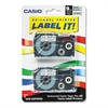 Casio Tape Cassettes for KL Label Makers, 9mm x 26ft, Black on Silver, 2/Pack