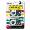 Tape Cassettes for KL Label Makers, 9mm x 26ft, Blue on White, 2/Pack