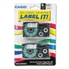 Casio Tape Cassettes for KL Label Makers, 9mm x 26ft, Black on Clear, 2/Pack