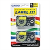 Casio Tape Cassettes for KL Label Makers, 9mm x 26ft, Black on Yellow, 2/Pack