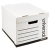 Heavy-Duty Fast Assembly Lift-Off Lid Storage Box, Letter/Legal, White, 12/CT
