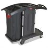 Compact Folding Housekeeping Cart, 22w x 51 3/4d x 44h, Black