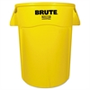 Brute Vented Trash Receptacle, Round, 44 gal, Yellow