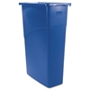 Slim Jim Waste Container, Rectangular, Plastic, 23gal, Blue